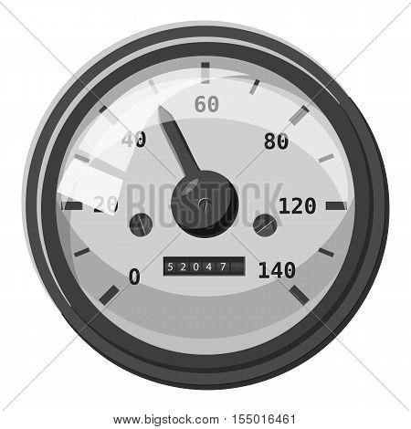 Speedometer with arrow icon. Gray monochrome illustration of speedometer with arrow vector icon for web