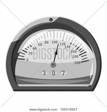 Small speedometer icon. Gray monochrome illustration of small speedometer vector icon for web