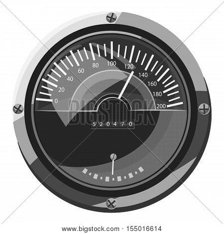 Large round speedometer icon. Gray monochrome illustration of large round speedometer vector icon for web
