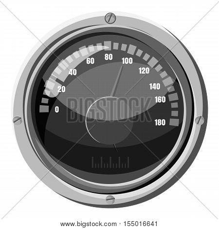 Round speedometer icon. Gray monochrome illustration of round speedometer vector icon for web