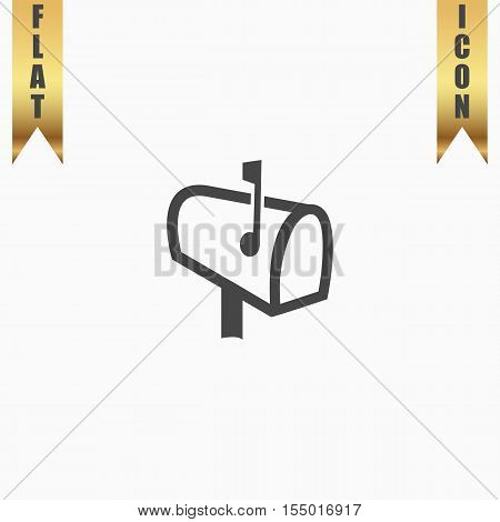 Mailbox. Flat Icon. Vector illustration grey symbol on white background with gold ribbon