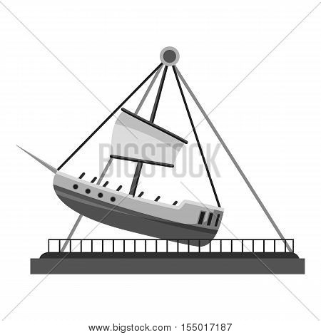 Boat swing icon. Gray monochrome illustration of boat swing vector icon for web