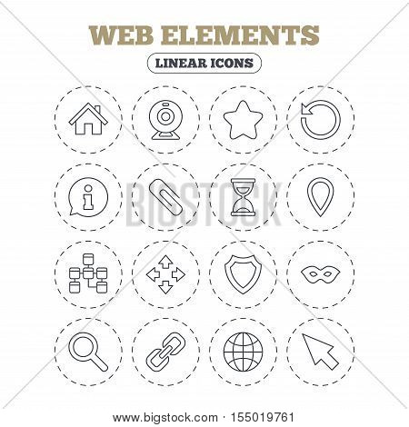 Web elements icons. Paperclip, video camera and information speech bubble. Database, anonymous mask and secure shield. Round flat buttons with linear icons. Vector