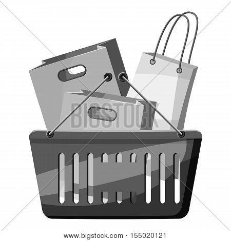 Shopping basket icon. Gray monochrome illustration of shopping basket vector icon for web