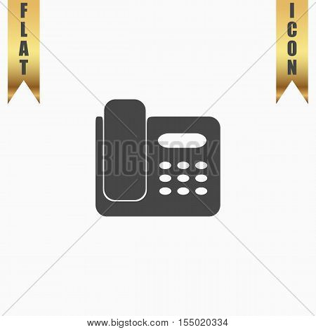 Fax machine. Flat Icon. Vector illustration grey symbol on white background with gold ribbon