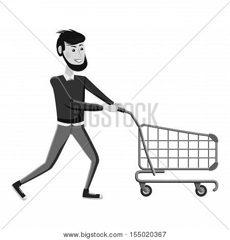 Man with empty shopping cart icon. Gray monochrome illustration of man with empty shopping cart vector icon for web