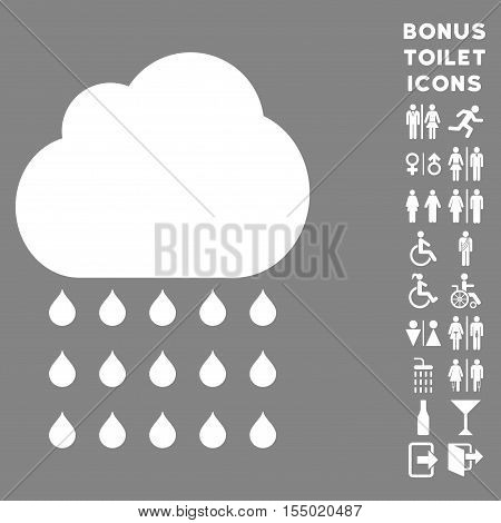 Rain Cloud icon and bonus gentleman and woman toilet symbols. Vector illustration style is flat iconic symbols, white color, gray background.