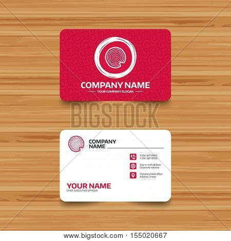 Business card template with texture. Wood sign icon. Tree growth rings. Tree trunk cross-section with nick. Phone, web and location icons. Visiting card  Vector