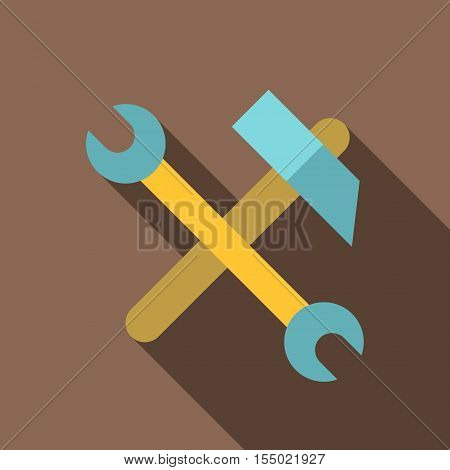 Hammer and wrench icon. Flat illustration of hammer and wrench vector icon for web