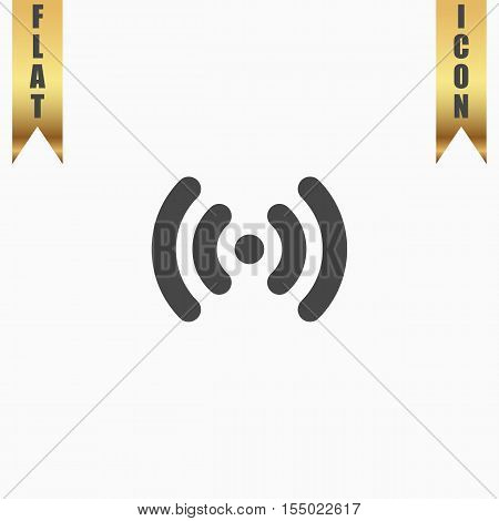 Wi-Fi network. Flat Icon. Vector illustration grey symbol on white background with gold ribbon