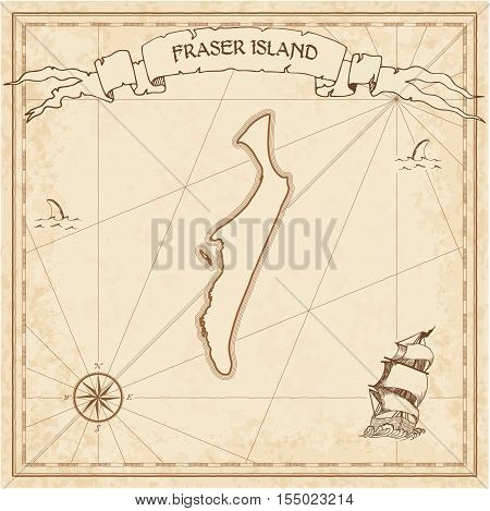 Fraser Island Old Treasure Map. Sepia Engraved Template Of Pirate Island Parchment. Stylized Manuscr