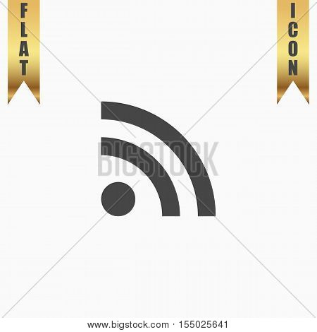RSS. Flat Icon. Vector illustration grey symbol on white background with gold ribbon