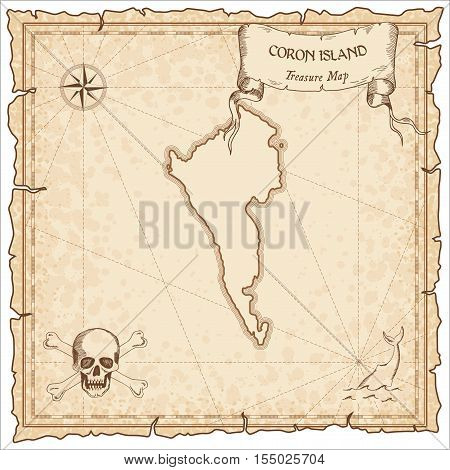 Coron Island Old Pirate Map. Sepia Engraved Parchment Template Of Treasure Island. Stylized Manuscri