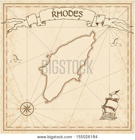 Rhodes Old Treasure Map. Sepia Engraved Template Of Pirate Island Parchment. Stylized Manuscript On
