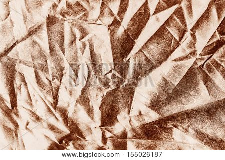 Rose Gold  Background Or Texture And Shadow. Fabric Crease
