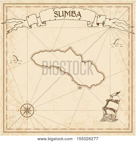 Sumba Old Treasure Map. Sepia Engraved Template Of Pirate Island Parchment. Stylized Manuscript On V