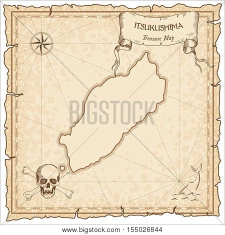 Itsukushima Old Pirate Map. Sepia Engraved Parchment Template Of Treasure Island. Stylized Manuscrip
