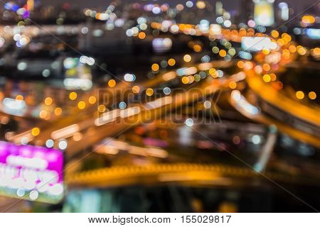 Abstract blurred lights highway interchanged night view