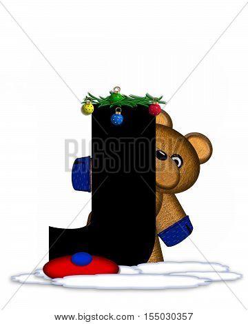 Alphabet Teddy Christmas Boughs J