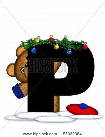 Alphabet Teddy Christmas Boughs P