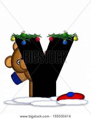 Alphabet Teddy Christmas Boughs Y