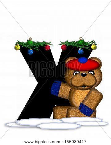 Alphabet Teddy Christmas Boughs X