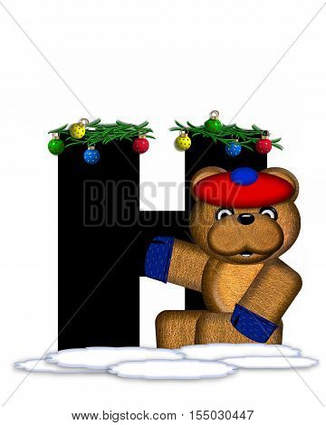 Alphabet Teddy Christmas Boughs H