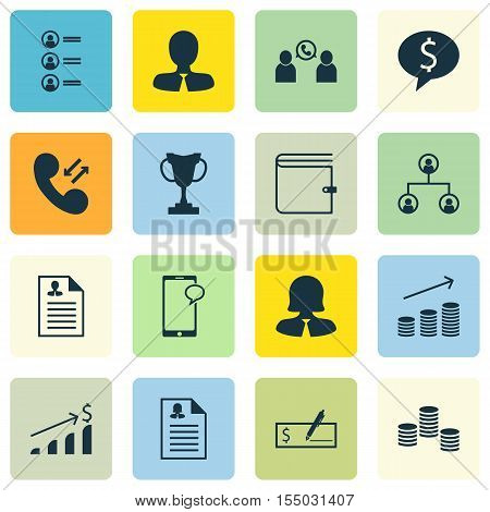 Set Of Human Resources Icons On Bank Payment, Cellular Data And Coins Growth Topics. Editable Vector