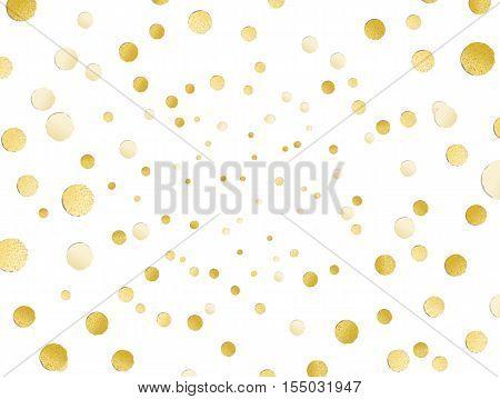 Scattered Shiny Golden Glitter Polka Dot Background, Gold Leaf, Hot Foil Confetti, Golden Metallic D