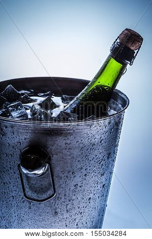 Ice Bucket With Cold Champagne And Ice