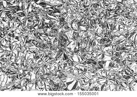Shiny Gray Foil Texture For Background And Shadow. Crease