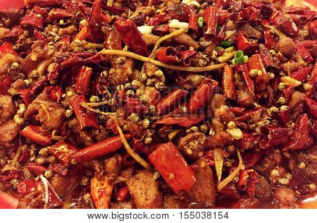 China Chongqing delicacy: Spicy rabbit meat .