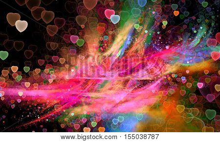 Valentine Hearts Background. Valentines Pink Abstract Wallpaper. Abstract Fractal art pattern for wallpaper cards flyer cover poster booklet