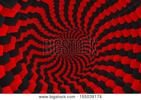 abstract background of red boxes with black twisted 3d illustration