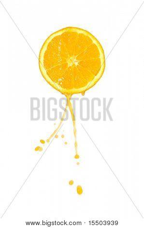 juice flows down from orange