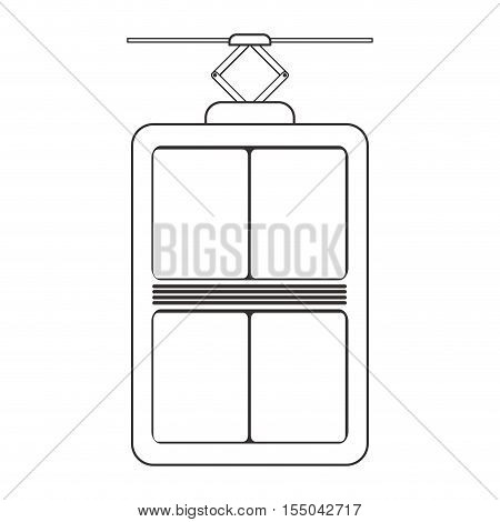 silhouette of elevator technology device icon over white background. vector illustration