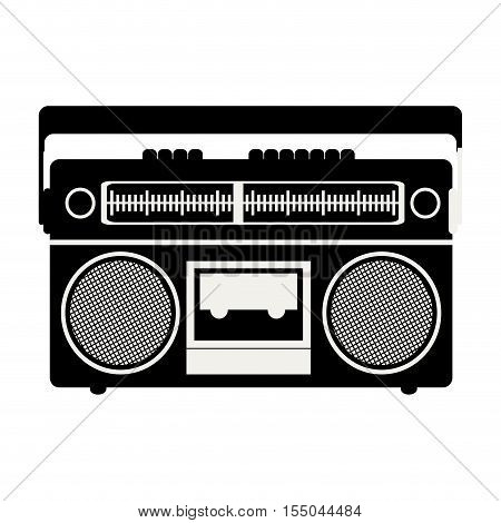 silhouete of classic music tape player device icon over white background. vector illustration