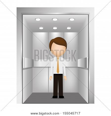avatar male man with suit and tie inside elevator icon over white background. vector illustration