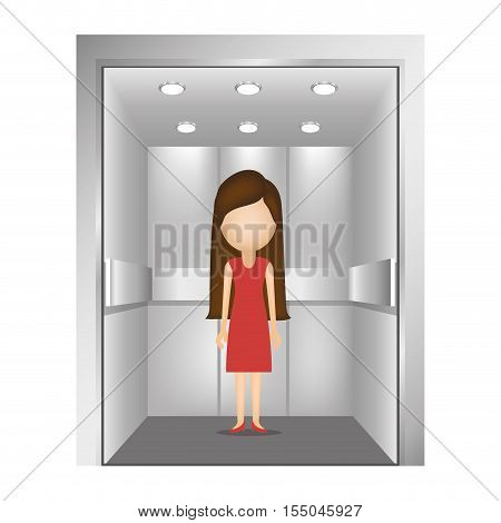woman with red dress inside elevator icon over white background. vector illustration