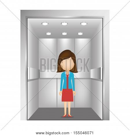 cartoon woman with executive clothes inside elevator icon over white background. vector illustration