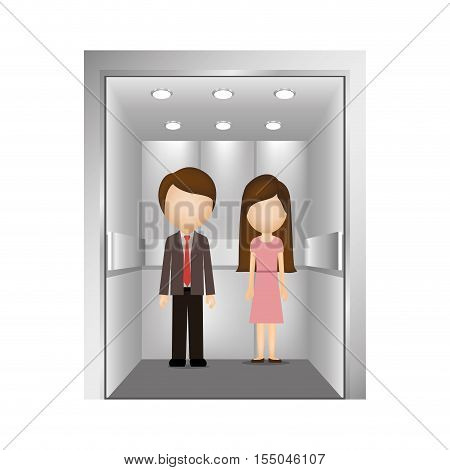 executives man and woman inside elevator icon over white background. vector illustration