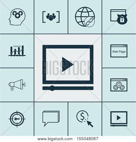 Set Of Seo Icons On Security, Keyword Optimisation And Questionnaire Topics. Editable Vector Illustr