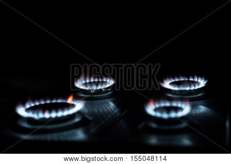 Blue flames from natural gas high quality and high resolution studio shoot