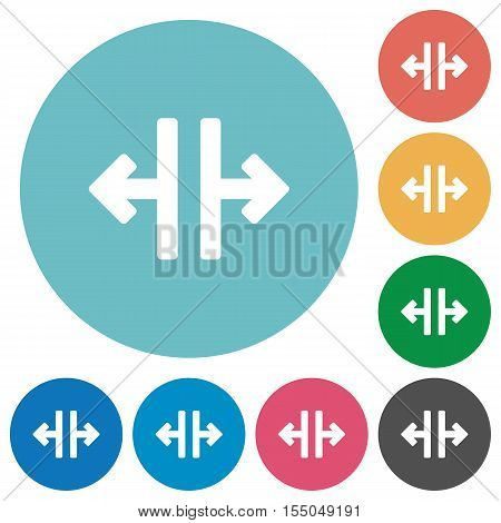 Vertical split white flat icons on color rounded square backgrounds