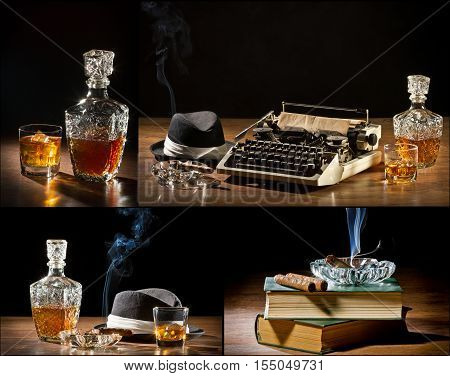 Collage Of Retro-styled Old Typewriter, Cigar, Hat And Whisky No. 1