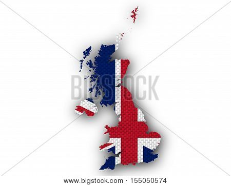 Colorful and crisp image of map and flag of Great Britain on linen