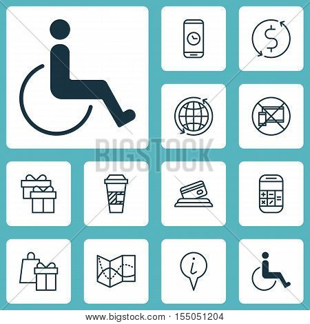 Set Of Traveling Icons On Shopping, Money Trasnfer And Takeaway Coffee Topics. Editable Vector Illus
