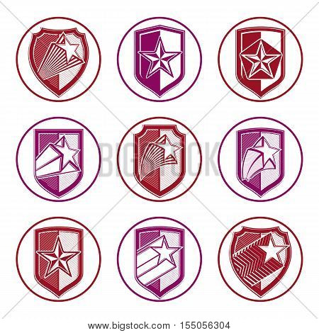 Heraldry set of military forces emblems. Detailed vector shields with pentagonal star sheriff decorative blazon.
