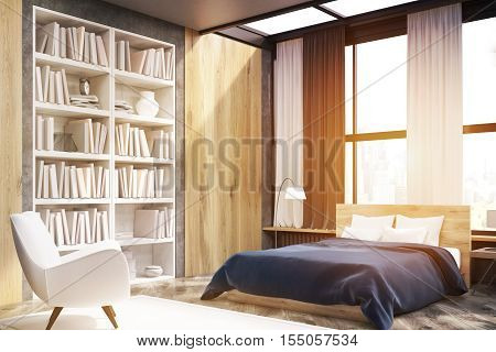 Corner Of Bedroom Interior With Bookcase, Toned