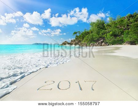Perfect tropical palm beach Anse Georgette at Praslin island Seychelles - travel vacation season year 2017 background